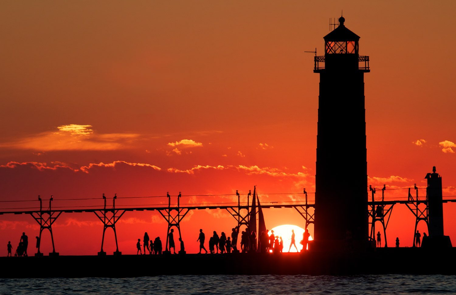 Grand Haven Lighthouse at Sunset